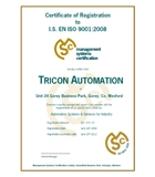 Tricon Automation is now ISO 9001:2008 Certified
